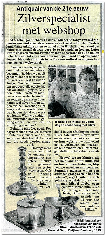Ursula Boonstra de Jonge en Michel de Jonge al 27 jaar altijd bezig met zilver