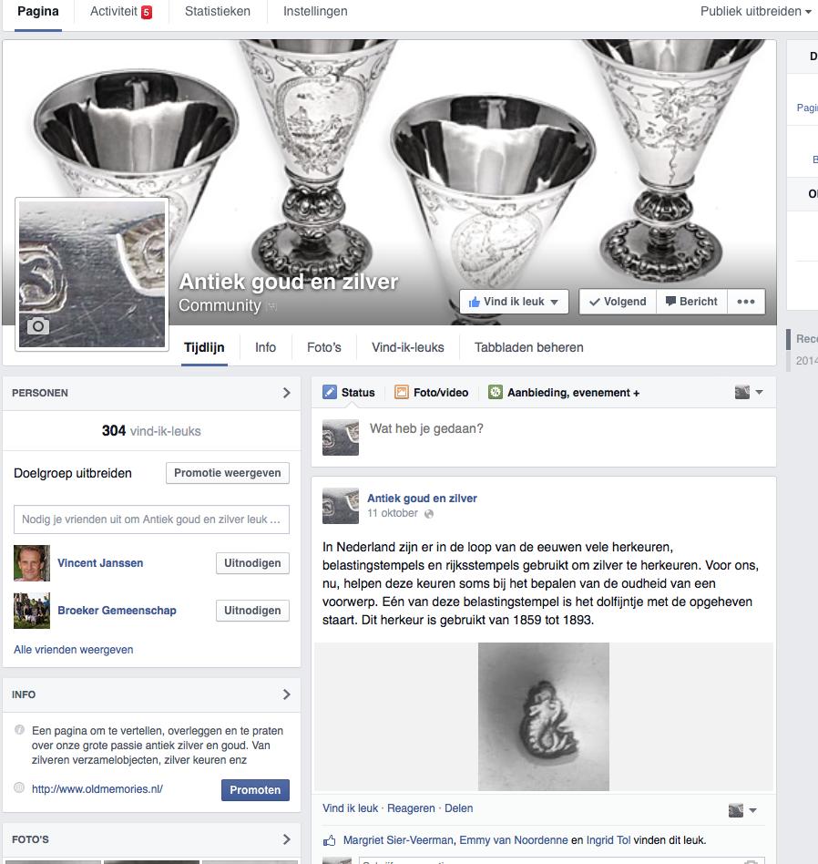 Antiek goud en zilver community op Facebook