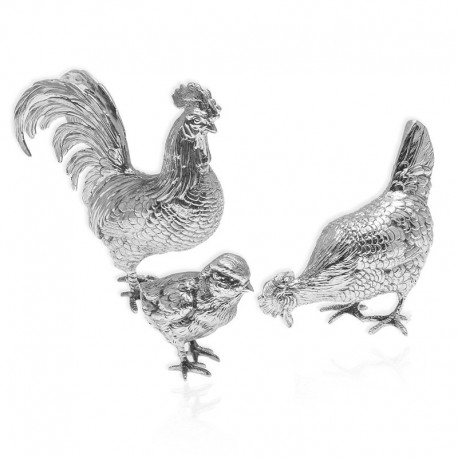 zilveren tafelstuk haa, hen met kuikentje