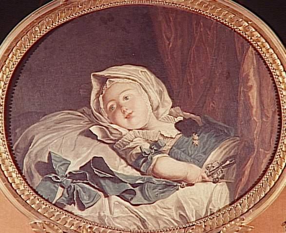 antiek schilderij met een kind met een zilveren rammelaar