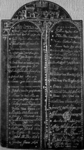 Koperen insculpatieplaat uit Den Bosch gebruikt van 1643 tot 1709. Bron: docdata.nl