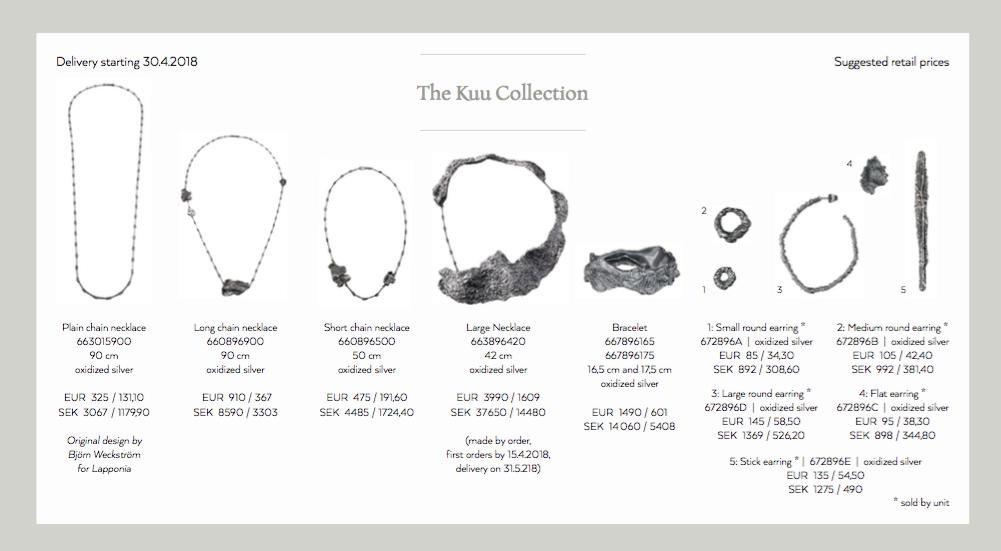 De 10 sieraden van de Kuu collectie van Lapponia