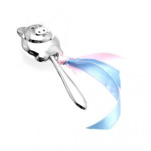 Zilveren rammelaar varkentje op staaf