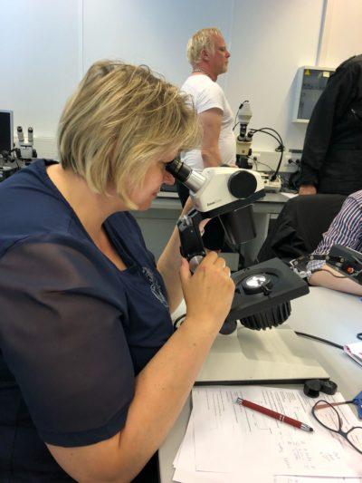 Edelstenen bestuderen onde de microscoop