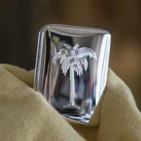 gegraveerde afbeelding van een palmboom op een zilveren pillendoosje