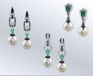 Lange zilveren oorbellen met markasiet en edelstenen