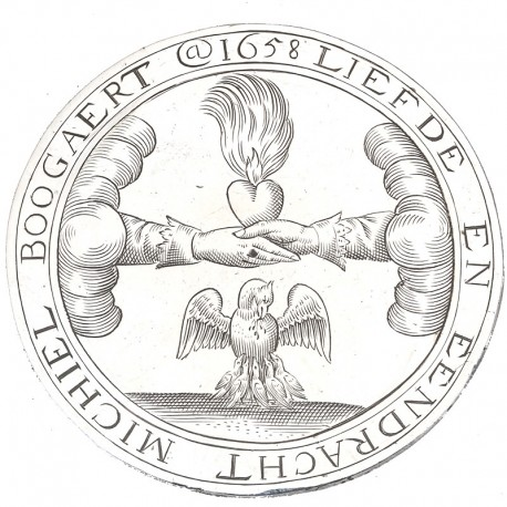 17e eeuwse zilveren huwelijkspenning met gravering van twee handen met een brandend hart de verbonden liefde