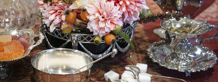 zilveren jardiniere, zilveren suikertang