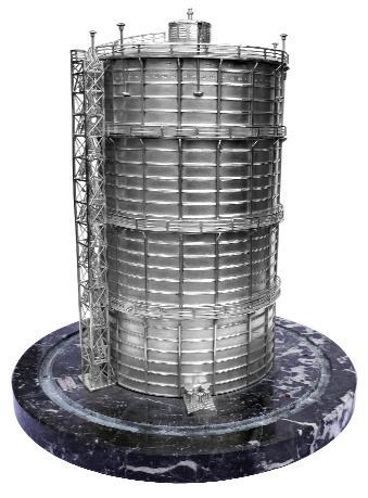 Zilveren model van de zaanse gashouder gemaakt door de firma S.I.Vet & Zoon in 1930