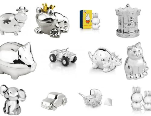 Zilveren en verzilverde spaarpotten geliefde kraamcadeaus
