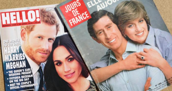 De beroemde ring van Prinses Diana witgoud met saffier en briljant