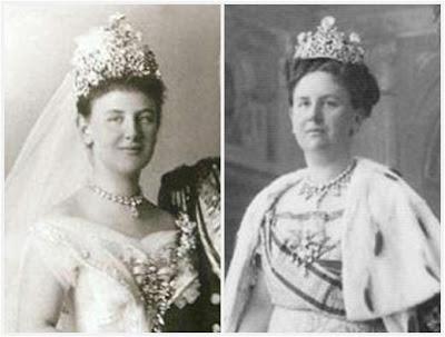 Koningin Wilhelmina met de Stuart diadeem.