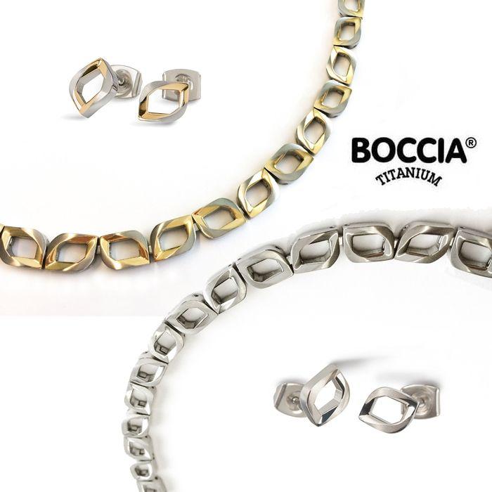 Boccia titanium collier met oorstekers tulip