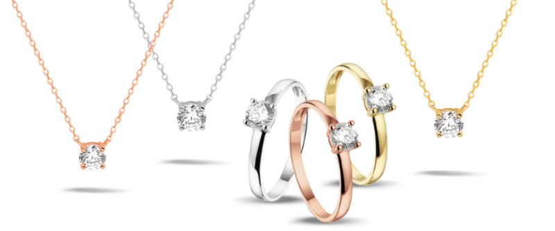 Gouden colliers met een diamant Zilver.nl