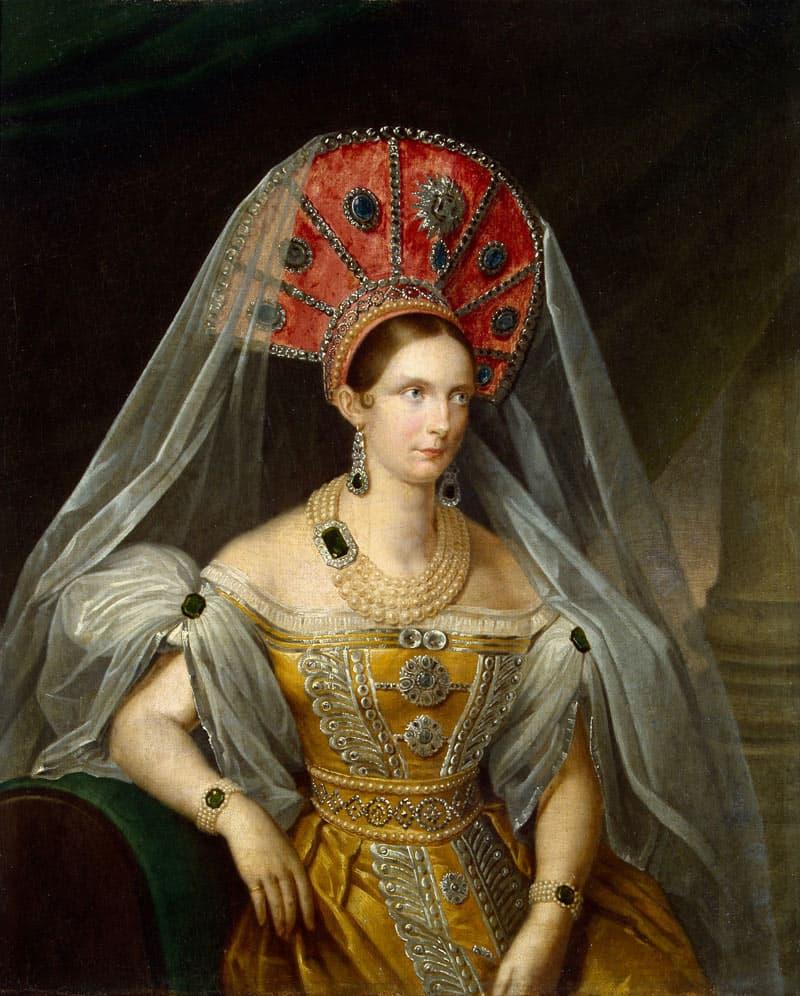 Portret van tsarina Alexandra te zien in de Hermitage Amsterdam tijdens de Juwelen! Tentoonstelling