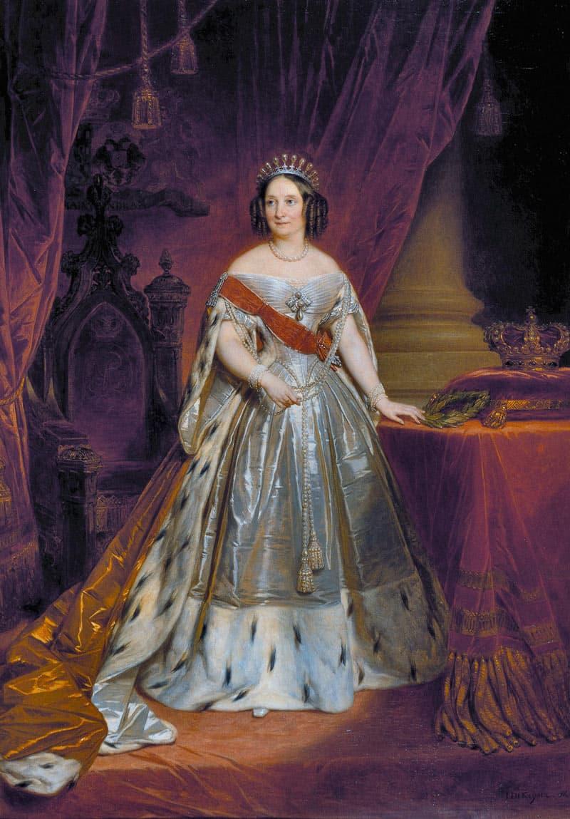 Portret van koningin Anna Paulowna te zien tijdens de tentoonstelling Juwelen! in de Hermitage te Amsterdam.