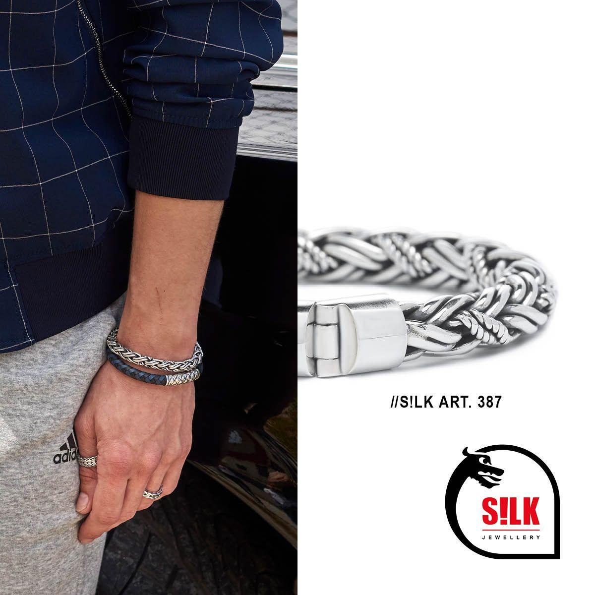 Zilveren Silk armband voor vader met gravering Zilver.nl